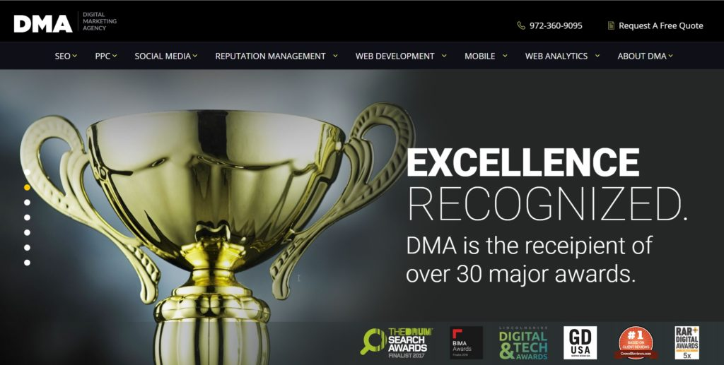 DMA website screenshot 3