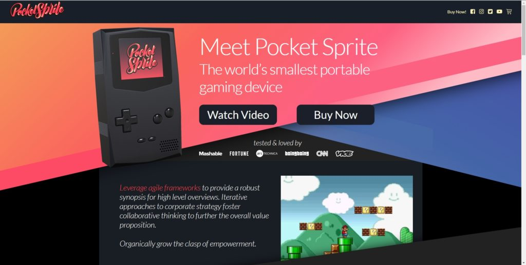 Pocket Sprite website screenshot 1