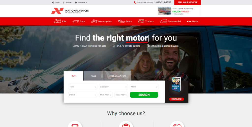 National Vehicle website screenshot 1