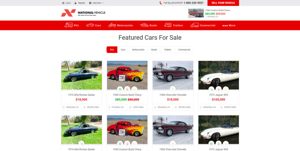 National Vehicle website screenshot 2