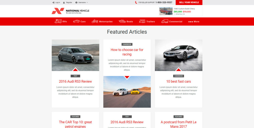 National Vehicle website screenshot 3