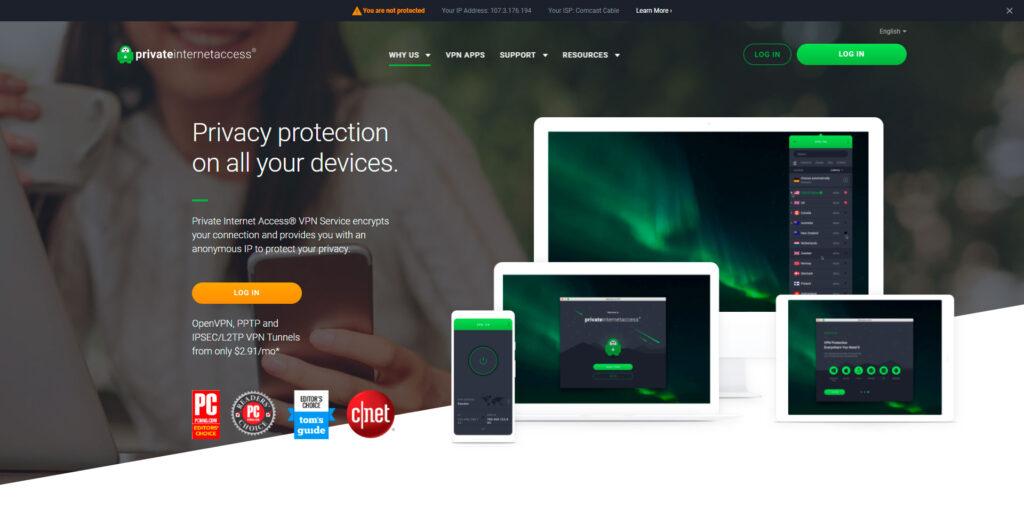 PIA website screenshot 1