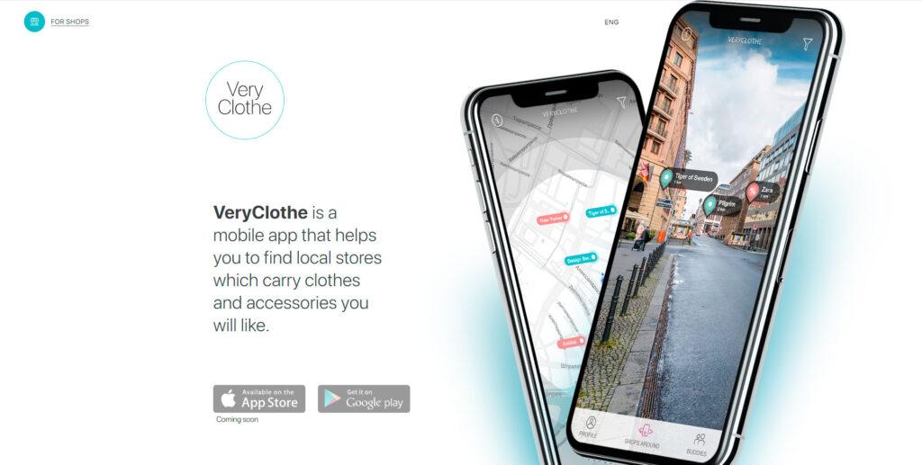 Very clothe website screenshot 1