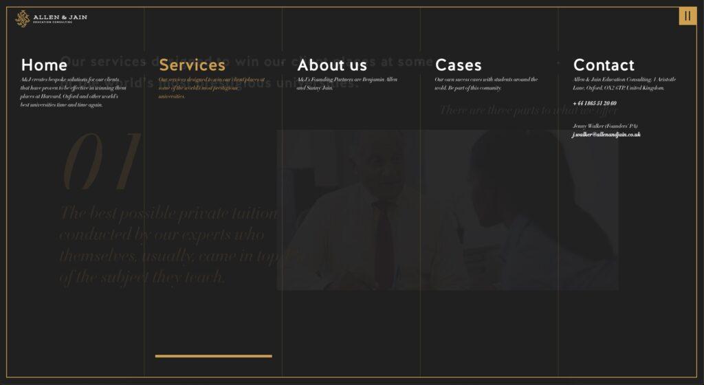 Allen and Jaine website screenshot 2
