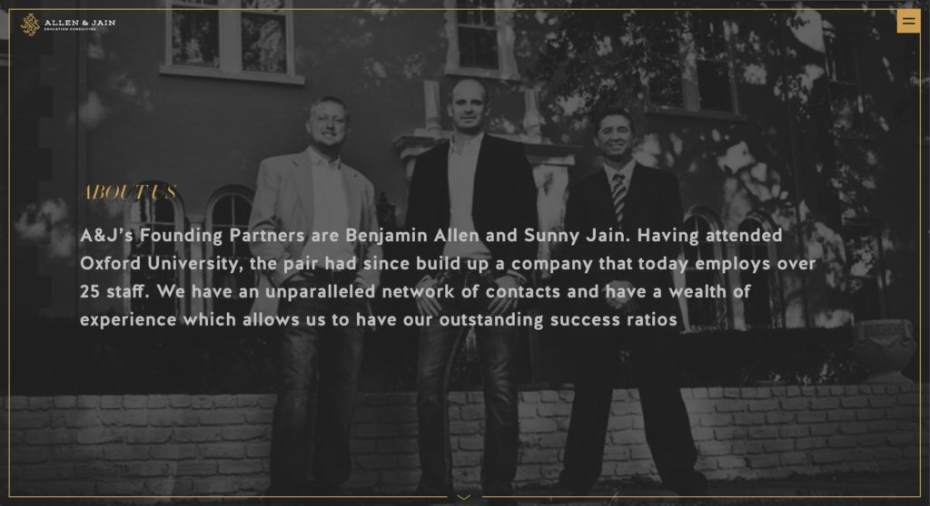 Allen and Jaine website screenshot 4