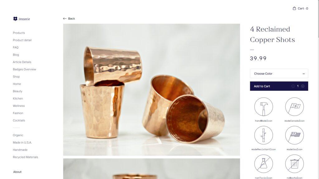 Itemerie website screenshot 2
