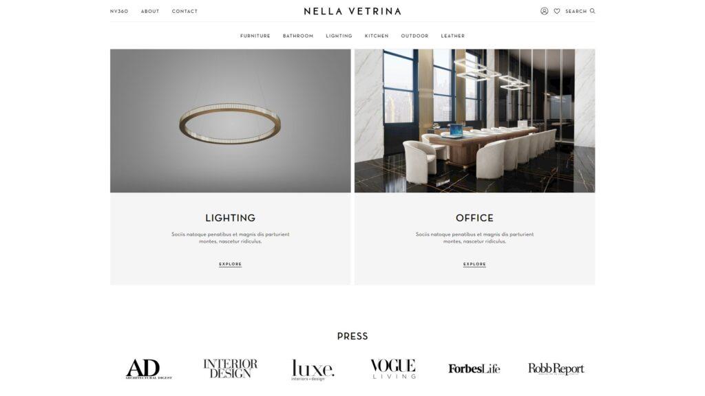Nella Vetrina website screenshot 3